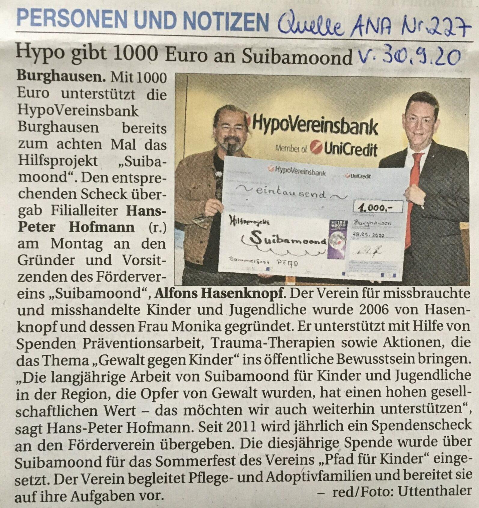 Hypo gibt 1000 Euro an Suibamoond