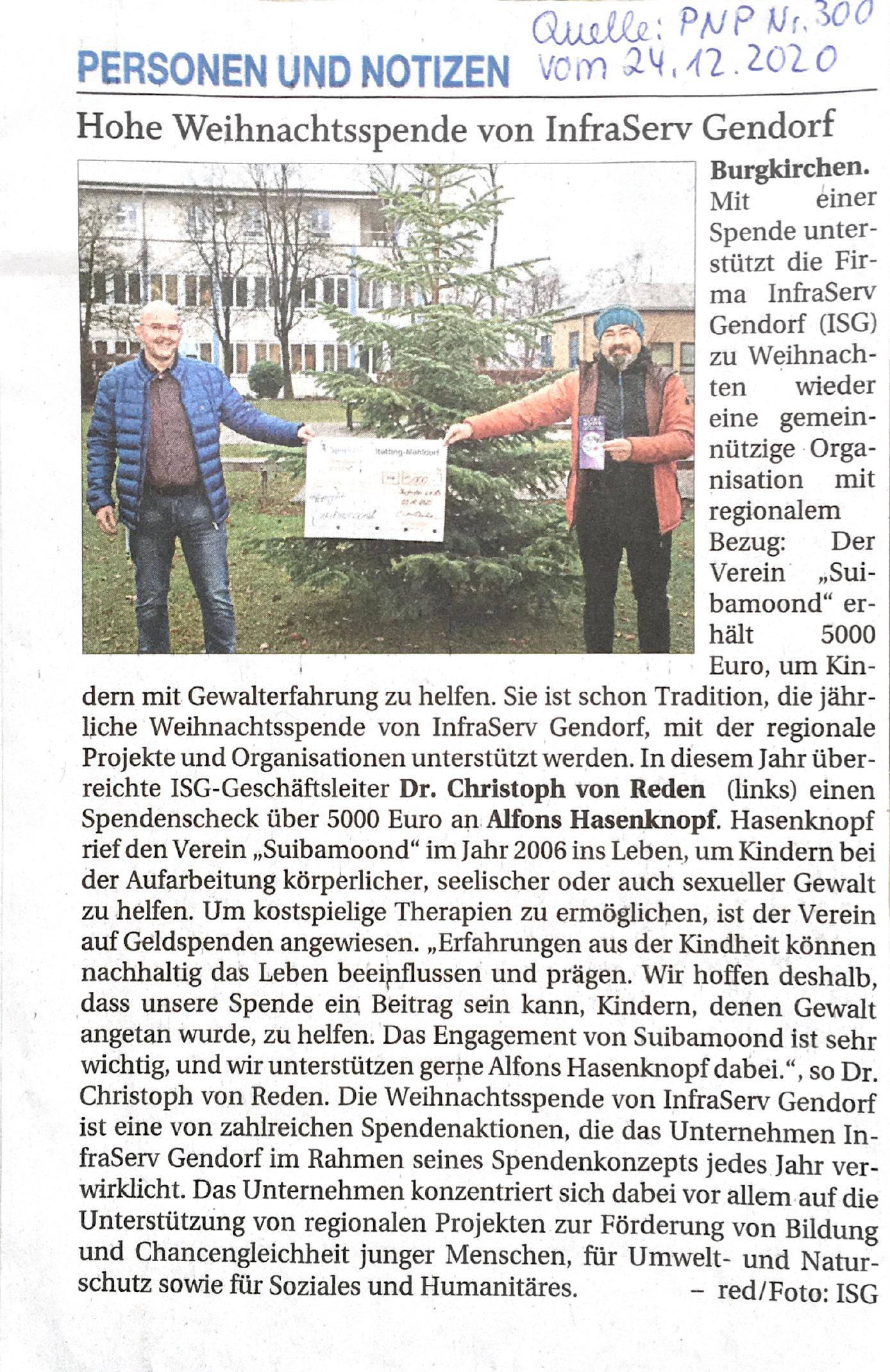 InfraServ Gendorf spendet für Suibamoond