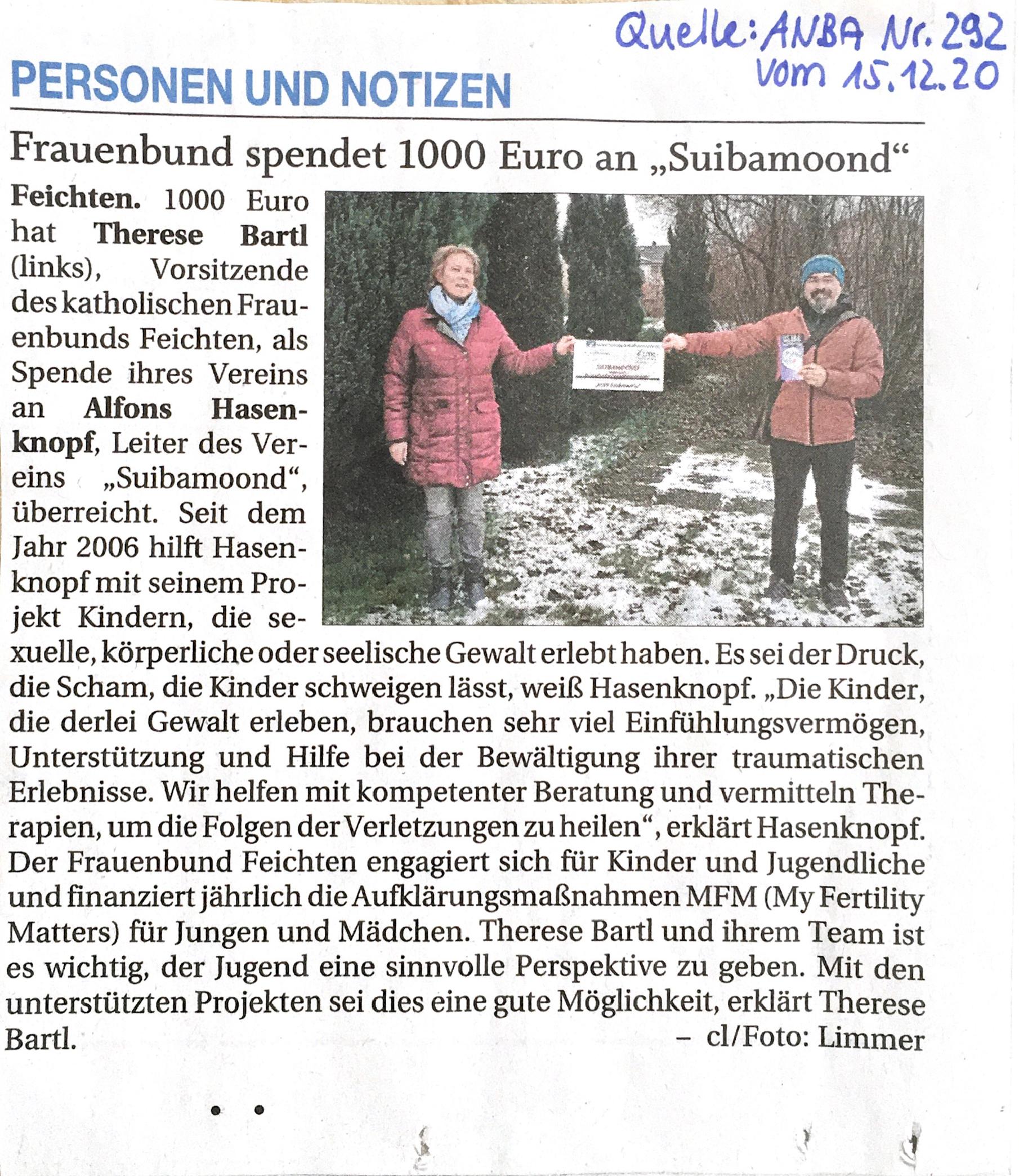 Frauenbund spendet 1000 Euro an Suibamoond